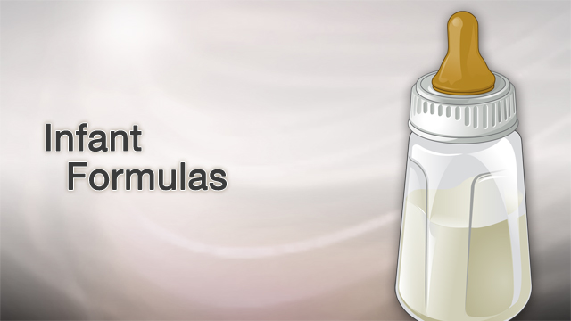 <div class=media-desc><strong>Infant formulas</strong><p>Deciding to feed your baby breast milk or formula is a personal matter. If you do choose formula, it's designed to be a nutritional source of food for infants. Let's talk about infant formula. A variety of formulas are available for infants younger than 12 months old. Infant formulas vary in nutrients, calorie count, taste, ability to be digested, and cost. Standard milk-based formulas are made with cow's milk protein that has been changed to be more like breast milk. These formulas contain lactose and minerals from cow's milk, along with vegetable oils, minerals, and vitamins. Soy-based formulas are made using soy proteins. These formulas are useful when parents do not want their child to eat animal protein, or the child has a rare metabolic problem and can't tolerate other formulas. Also, soy formulas do not contain lactose. Other lactose-free formulas are available to help babies with lactose problems. Hypoallergenic formulas may be helpful for babies who have true allergies to milk protein. They can also help babies with skin rashes. One caveat you'll pay a lot more for them. Your baby's doctor may recommend other special formulas. Reflux formulas are pre-thickened with rice starch. They can help babies with reflux problems who are not gaining weight. Formulas for premature and low-birth weight infants have extra calories and minerals. Other special formulas are available for babies with heart disease and digestion problems. So, what's the best way to take care of infant formula and bottles? You'll need to clean bottles and nipples with soap, then for very young babies boil them in a covered pan for 10 minutes. Once the bottles are cooled, you can make enough formula to last 24 hours. Make it exactly as the package directs you to. Once you make formula, store it in your refrigerator in individual bottles. During the first month, your baby may need at least 8 bottles of formula a day. When it's time to feed your baby, warm the formula slowly in hot water. Always test the temperature of the formula before feeding your baby. Hold your child close to you and make eye contact. Hold the bottle so the nipple and neck of the bottle are always filled with liquid. This helps prevent your child from swallowing air, which can cause gas and vomiting. Once you're finished feeding your baby, throw away any formula left in the bottle. Children should get breast milk or formula at least throughout the first year. This is the centerpiece of infant nutrition.</p></div>