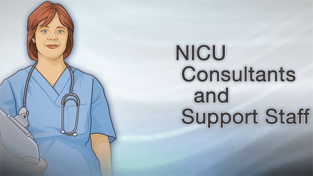 <div class=media-desc><strong>NICU consultants and support staff</strong><p>If your newborn needs to be admitted to the neonatal intensive care unit, or NICU, a group of different medical professionals will be there to help. Here's a rundown of some of the consultants and support staff you can expect to meet in the NICU. Each person who works in the NICU has a different specialty: Your bedside NICU nurses work most closely with your baby, providing care and observing closely for important changes. A neonatologist specializes in the health problems of newborns. They supervise and coordinate care. A cardiologist is trained to diagnose and treat diseases of the heart and blood vessels. If a baby has a heart defect, a cardiovascular surgeon will perform the surgery to fix it. An infectious disease specialist treats babies who have serious infections, including infections of the blood, brain, or spinal cord. A neurologist diagnoses and treats conditions of the brain, nerves, and muscles. You might see a neurologist if your baby has seizures, or is born with a nervous system condition like spina bifida. When the problem needs to be corrected with surgery, a neurosurgeon will perform the operation. An endocrinologist diagnoses and treats hormone problems, such as diabetes. Gastroenterologists are expert at treating digestive problems of the stomach and intestines. A hematologist-oncologist treats blood disorders and cancer. An infant might see this type of doctor for a problem with blood clotting. A nephrologist focuses on diseases of the kidneys and urinary system. If your baby was born with a kidney problem, you will talk to this doctor about treatments, and possibly the need for surgery. Pulmonologists treat newborn lung problems, such as respiratory distress syndrome. You might see this doctor if your baby was born with a breathing condition. Then you'll work with a respiratory therapist to treat the problem. If you had a very high-risk pregnancy, you'll work with a maternal-fetal medicine specialist. This doctor can help if your baby was born prematurely, or you had twins or other multiples. Babies who are born with eye defects see an ophthalmologist, a doctor who diagnoses and treats eye problems. If your newborn needs x-rays, an x-ray technician will take the test, and a radiologist will read the results. Sometimes babies are born with or at risk for developmental delays. If that is the case, a developmental pediatrician will test your child, and help you find the right care once you leave the NICU. The pediatrician may recommend that you see an occupational or physical therapist to assess your baby's reflexes, movement, and feeding. While you're in the NICU, you'll also see a neonatal nurse practitioner. This specialist will work closely with your doctor to make sure your baby gets just the right care. Being in the NICU can feel scary and new at first. Don't be afraid to ask questions. Your NICU medical team is there to care for your baby, and to make sure you're prepared to take over that care once you get home.</p></div>